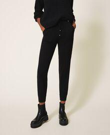 Pantalon de jogging en maille avec dentelle Noir Femme 202TP3384-02
