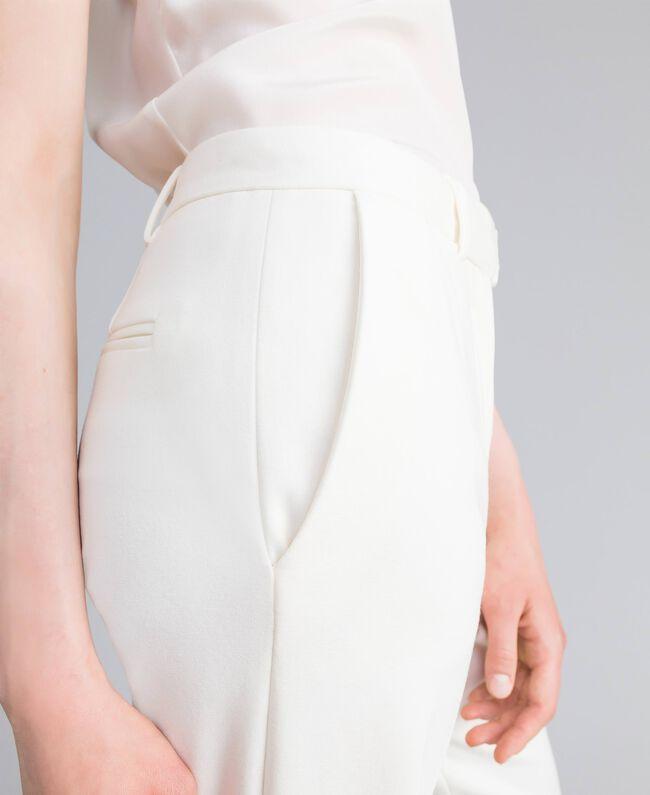 Pantalon en point de Milan Blanc Neige Femme PA8218-04
