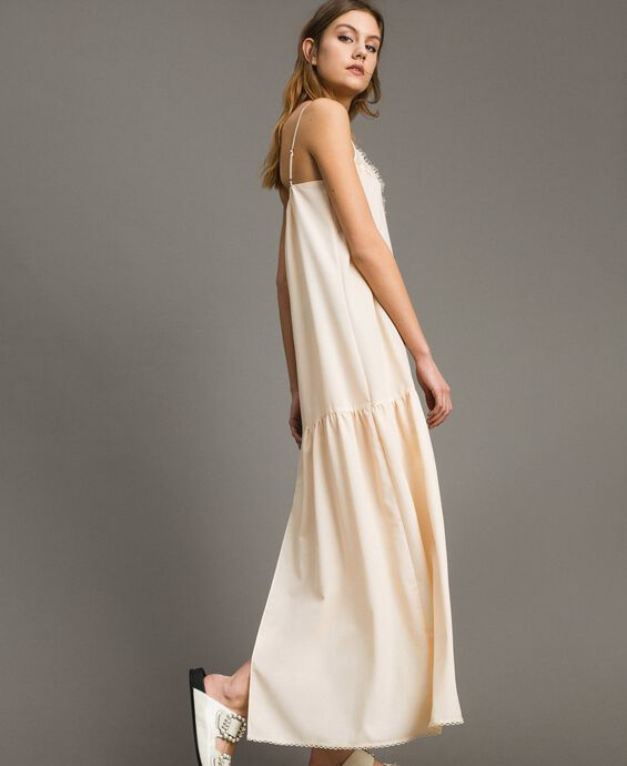 Crêpe de Chine slip dress with lace