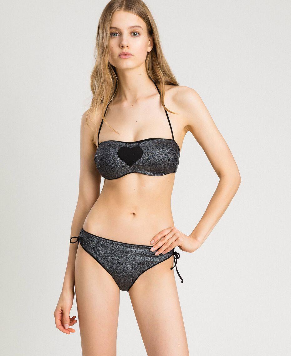 Bandeau-Bikinitop mit Glitzer und Herz Schwarz Frau 191LBM311-02