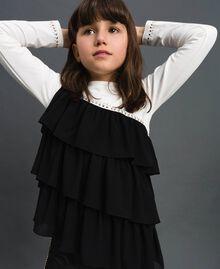 T-shirt avec volants asymétriques et clous Blanc / Noir Enfant 192GJ2116-02