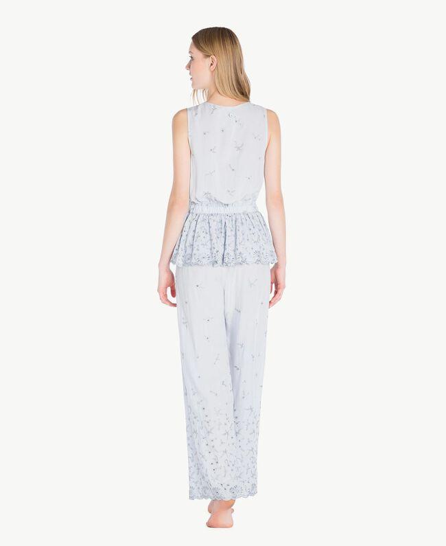 """Pyjama mit St. Galler Stickerei """"Fairy Blue""""-Azur Frau LS8GAA-04"""