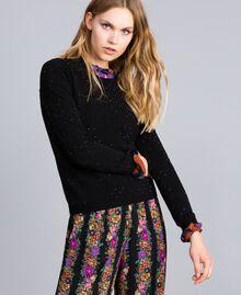 Viscose jumper with rhinestones Black Woman TA836B-01