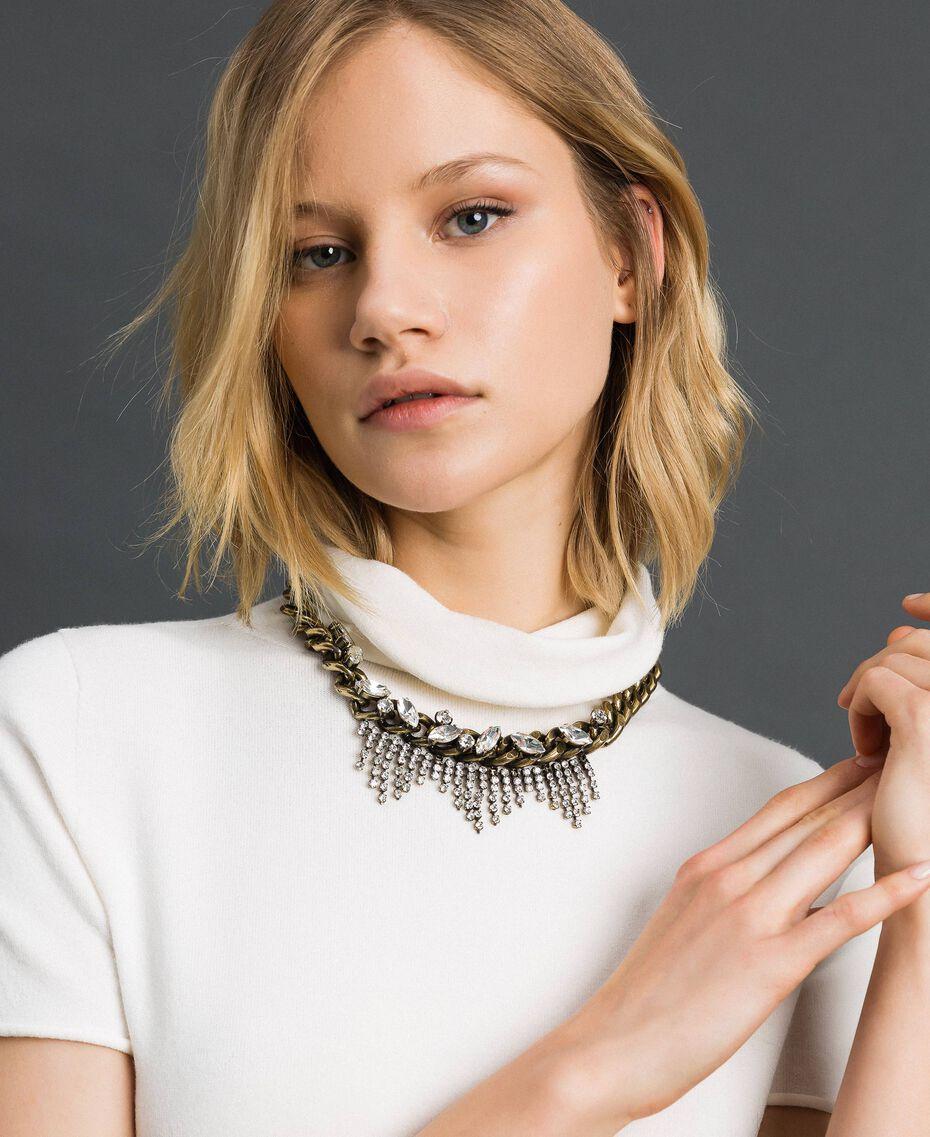 Цепочечное ожерелье с шатонами и стразами Серебряный Crystal женщина 192TA4367-0S
