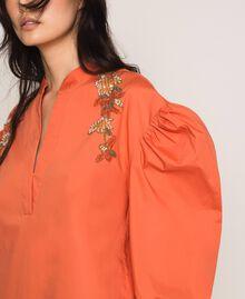 Blouse en popeline brodée Orange Parrot Femme 201TT2130-04