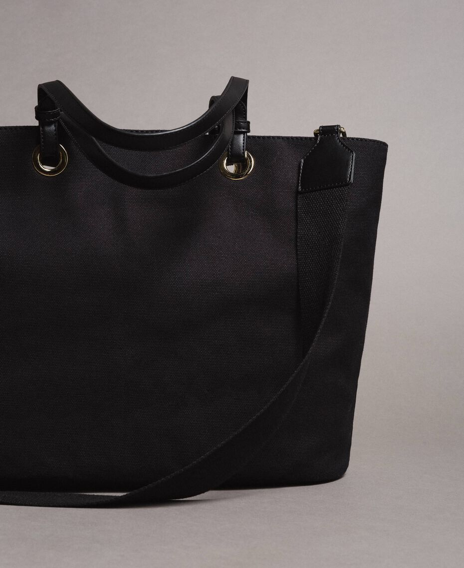 Large canvas shopping bag with logo Black Woman 191TO8202-03