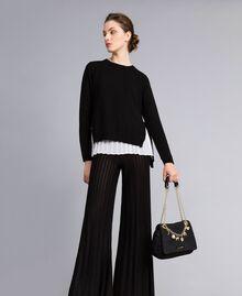 """Maglia in lana e cashmere con top plissé Bicolor Nero / Bianco """"Neve"""" Donna PA831C-0T"""