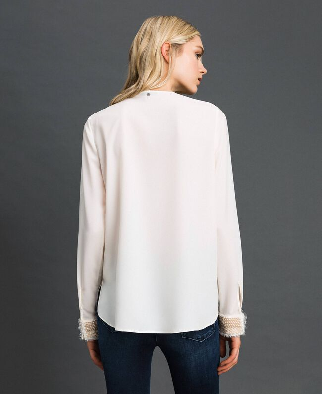 Blouse with pearl embroidery White Snow Woman 192TT2320-04