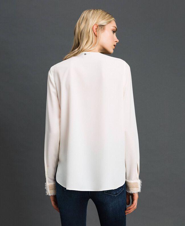 Blouse avec broderies de perles Blanc Neige Femme 192TT2320-04