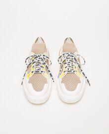 "Mesh trainers with faux leather detail Multicolour ""Quartz"" Pink / Vanilla / ""Iris"" Green Woman 201MCP130-05"