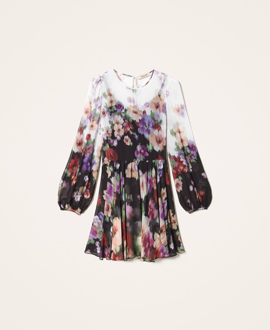 Платье из жоржета с цветочным принтом Принт Деграде Цветы Черный / Слоновая кость женщина 202TT2381-0S
