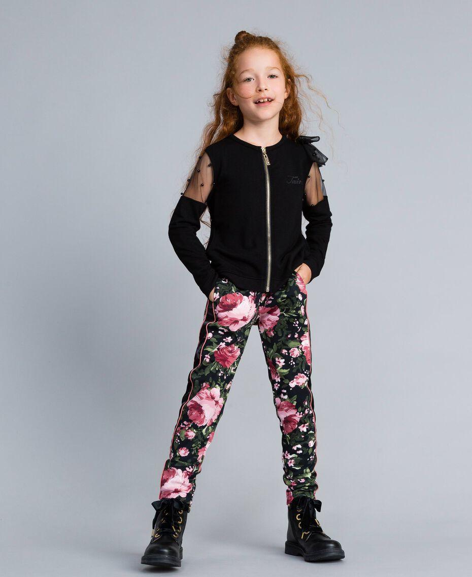 Pantalon en piqué imprimé Imprimé Roses / Noir Enfant GA82RU-0S