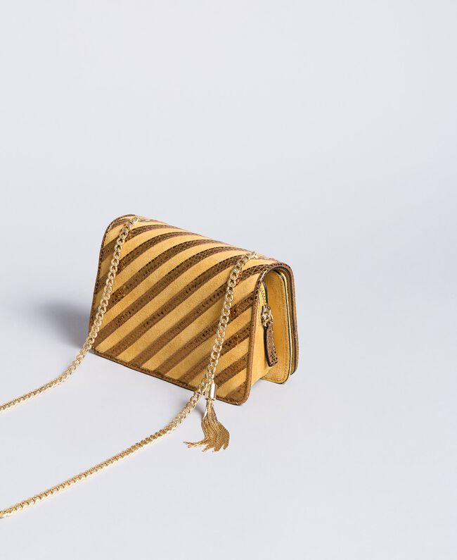Mini sac à bandoulière en cuir velours Ocre Foncé Femme OA8TD2-03