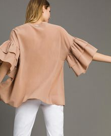 "Wide sleeve blouse with flounce ""Petra Sandstone"" Brown Woman 191LM2HCC-03"