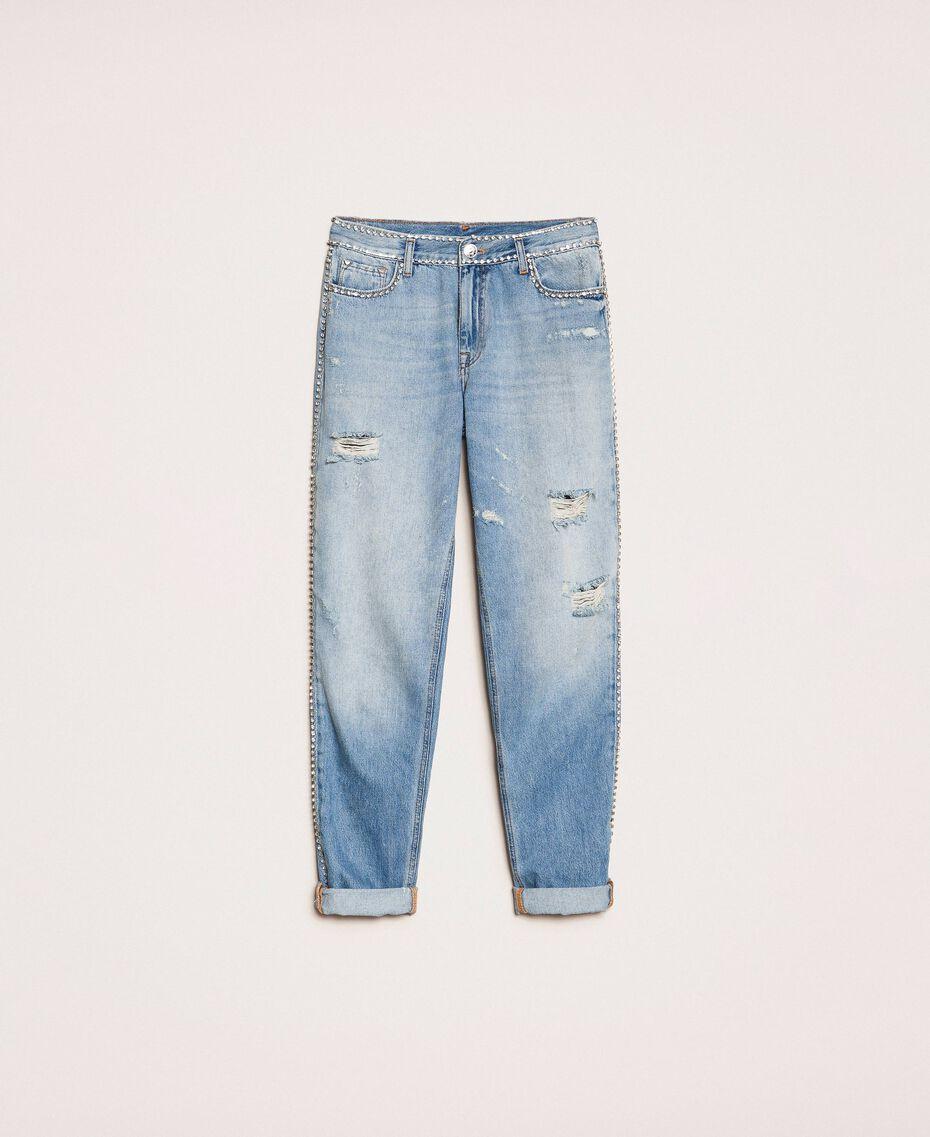 Jeans girlfriend con strass Denim Blue Donna 201MP2275-0S