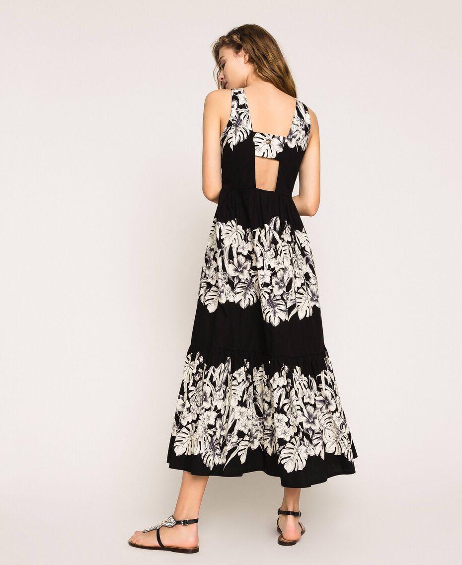 Robe longue en popeline florale Imprimé Fleur Graphique Noir Femme 201TT2313-01