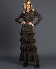Lurex knit long dress with flounces Black Striped / Lurex Woman 192TT3220-01