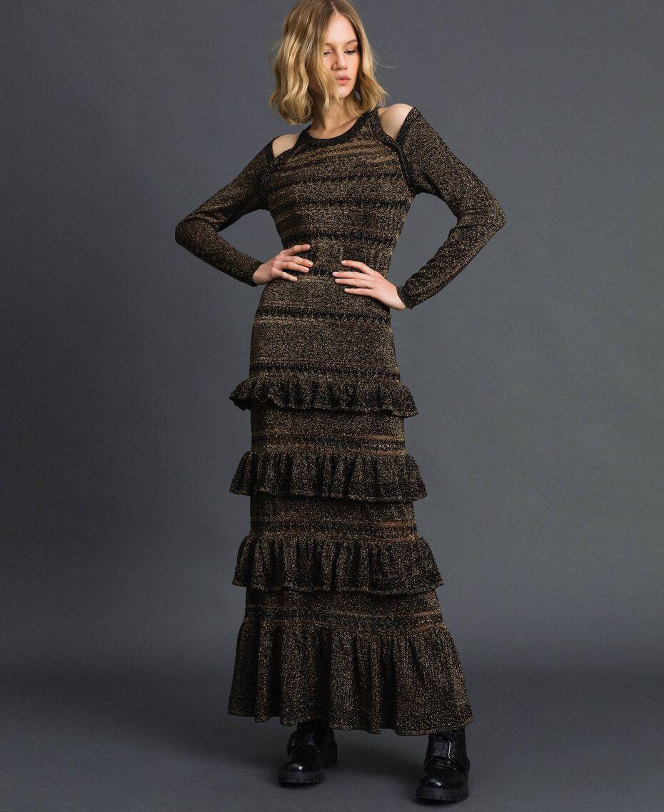 Lurex knit long dress with flounces Black Striped / Lurex Woman 192TT3220-01