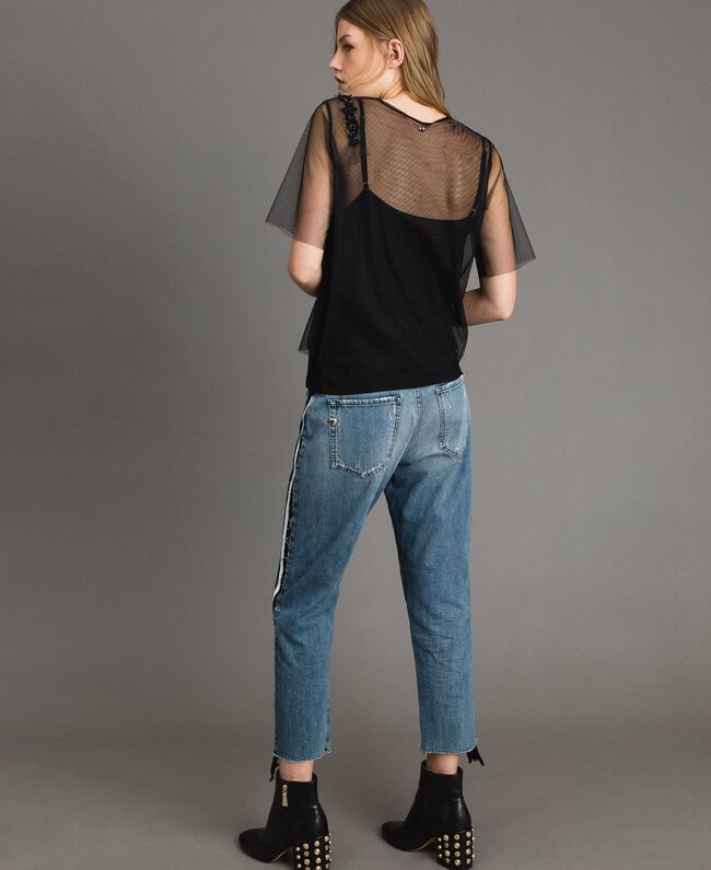 Loose jeans with striped panels Denim Blue Woman 191MP2482-04