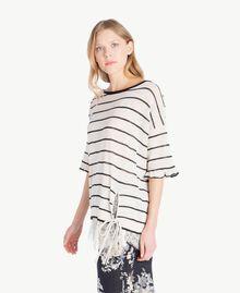 Maxi pull rayures Bicolore Blanc Parchemin / Noir Femme YS83BD-02