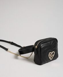 Faux leather belt bag with quilted hearts Black Woman 192MA7084-03