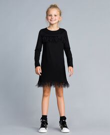 Kleid aus Jersey mit Federn Schwarz Kind GA827A-0S
