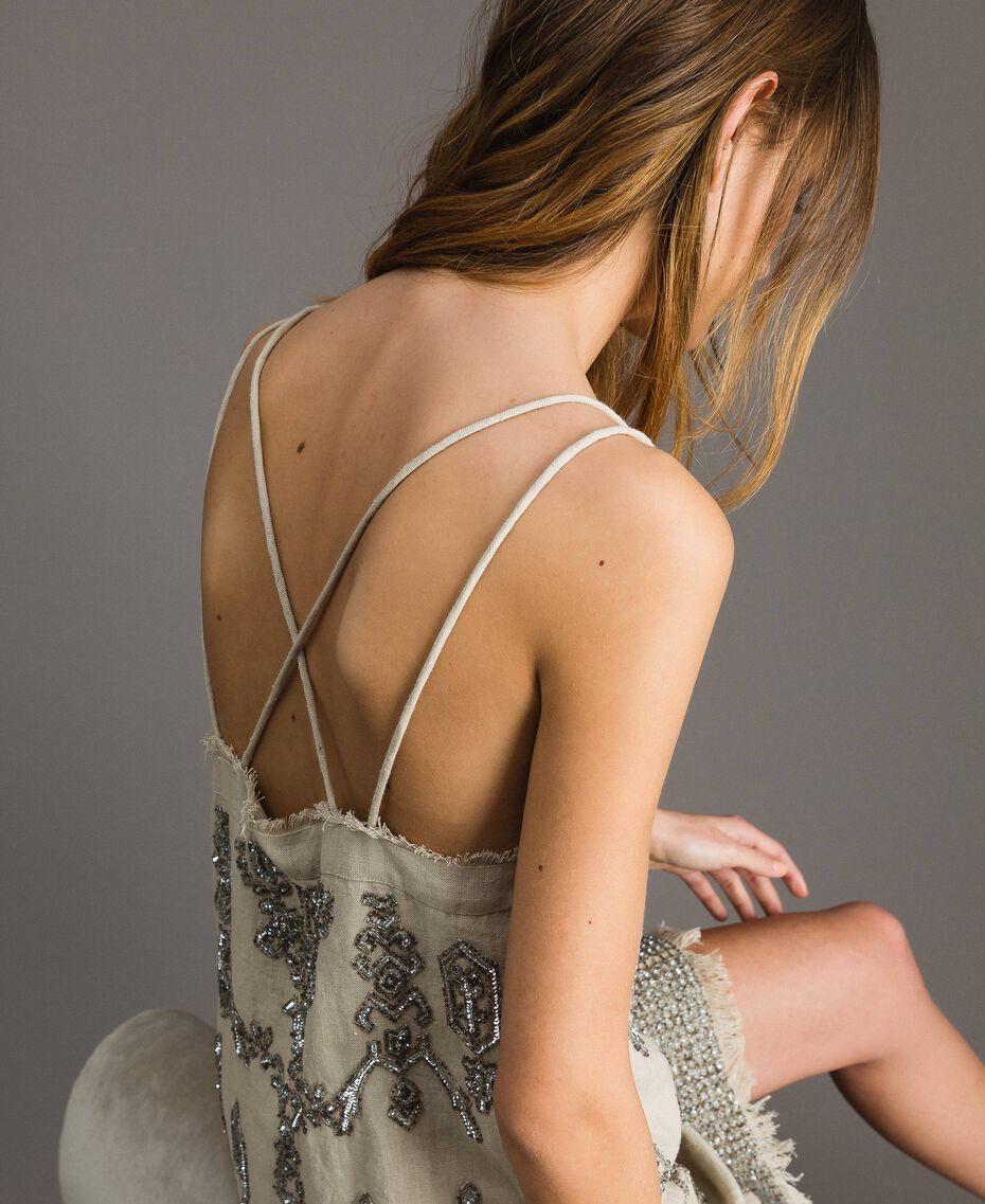"""Robe en lin ornée de perles et de sequins Beige """"Sable"""" Femme 191TT2063-06"""