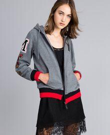 """Sudadera de algodón perchado con capucha Multicolor Gris Mezcla /  / Verde Alpino / Rojo """"Amapola"""" Mujer YA82LR-02"""