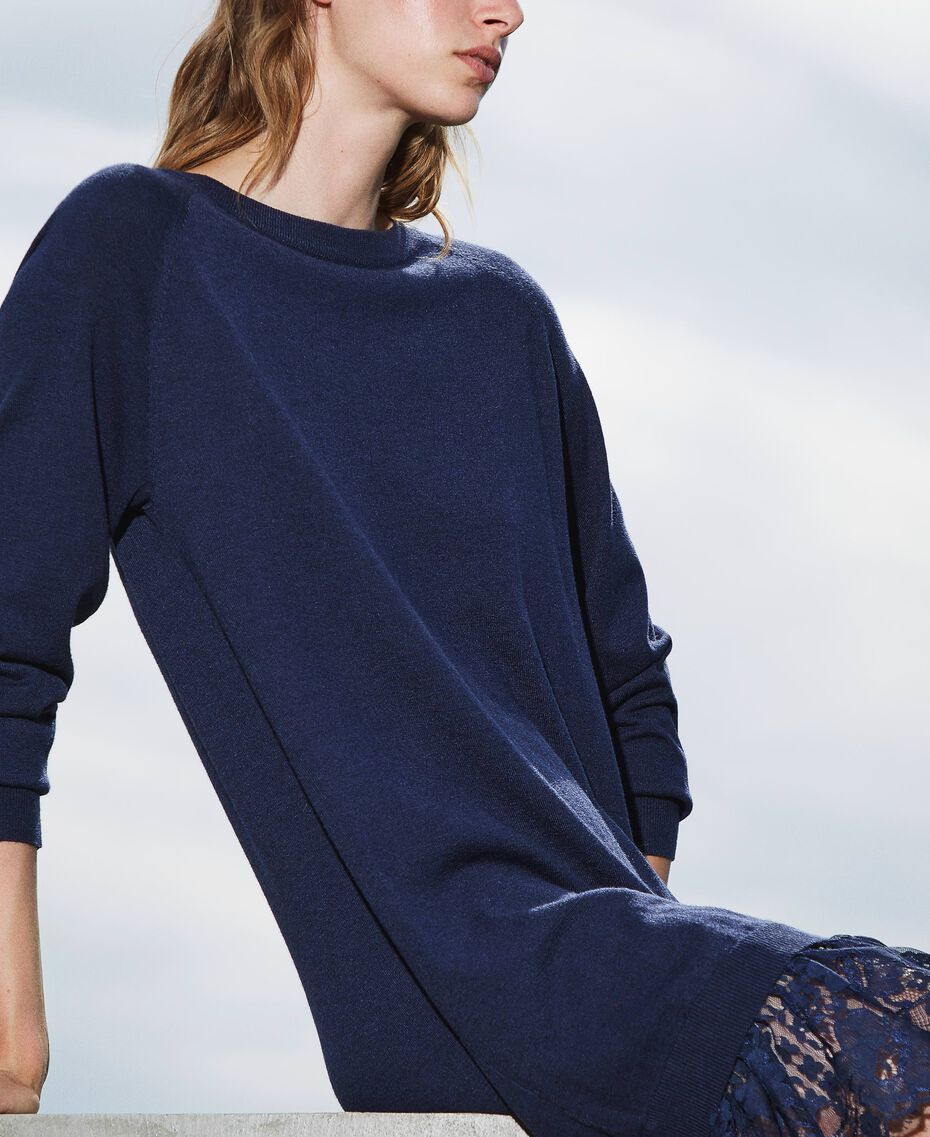Knitted dress with lace hem Blackout Blue Woman 202LI3RFF-01