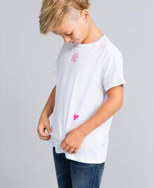 T-shirt unisexe junior en coton avec imprimé Blanc Enfant QA8TMP-07