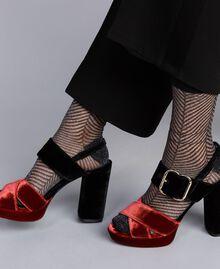Sandales compensées en velours bicolore Bicolore Noir / Orange Brûlée Femme CA8THG-0S