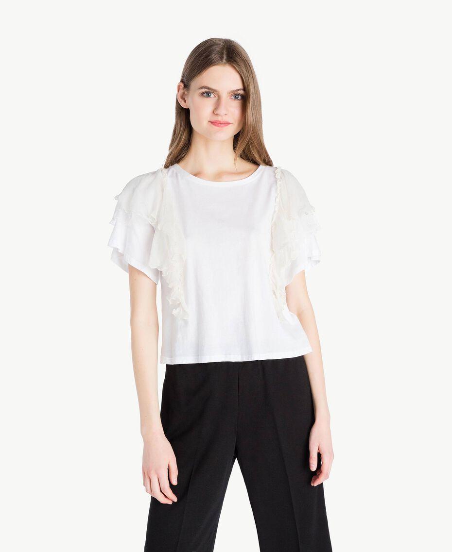 Flounced T-shirt White Woman PS82UB-01