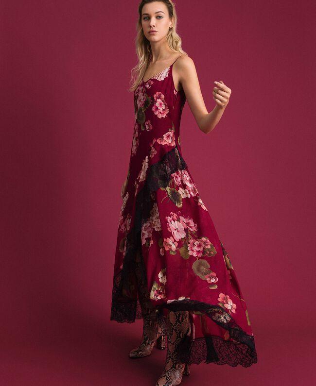 Robe nuisette en crépon avec imprimé floral Imprimé Rouge Betterave Géranium Femme 192TP2727-03
