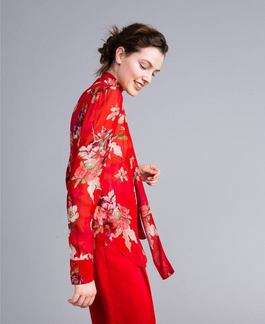 """Bluse aus geblümtem Georgette Print """"Red Garden"""" Frau PA8274-02"""