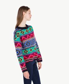 Oversized jacquard jumper Multicolour Cherry Red / Black YA73AB-02