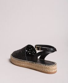 Suede espadrilles with laser embroidery Black Woman 191TCP062-03