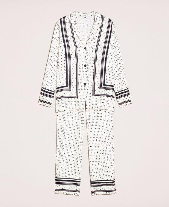 Pyjama aus Satin mit Logoprint