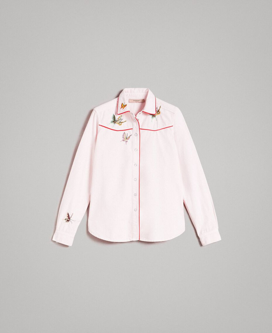 Denim shirt with butterfly Pink Pearl Woman 191TP2630-0S