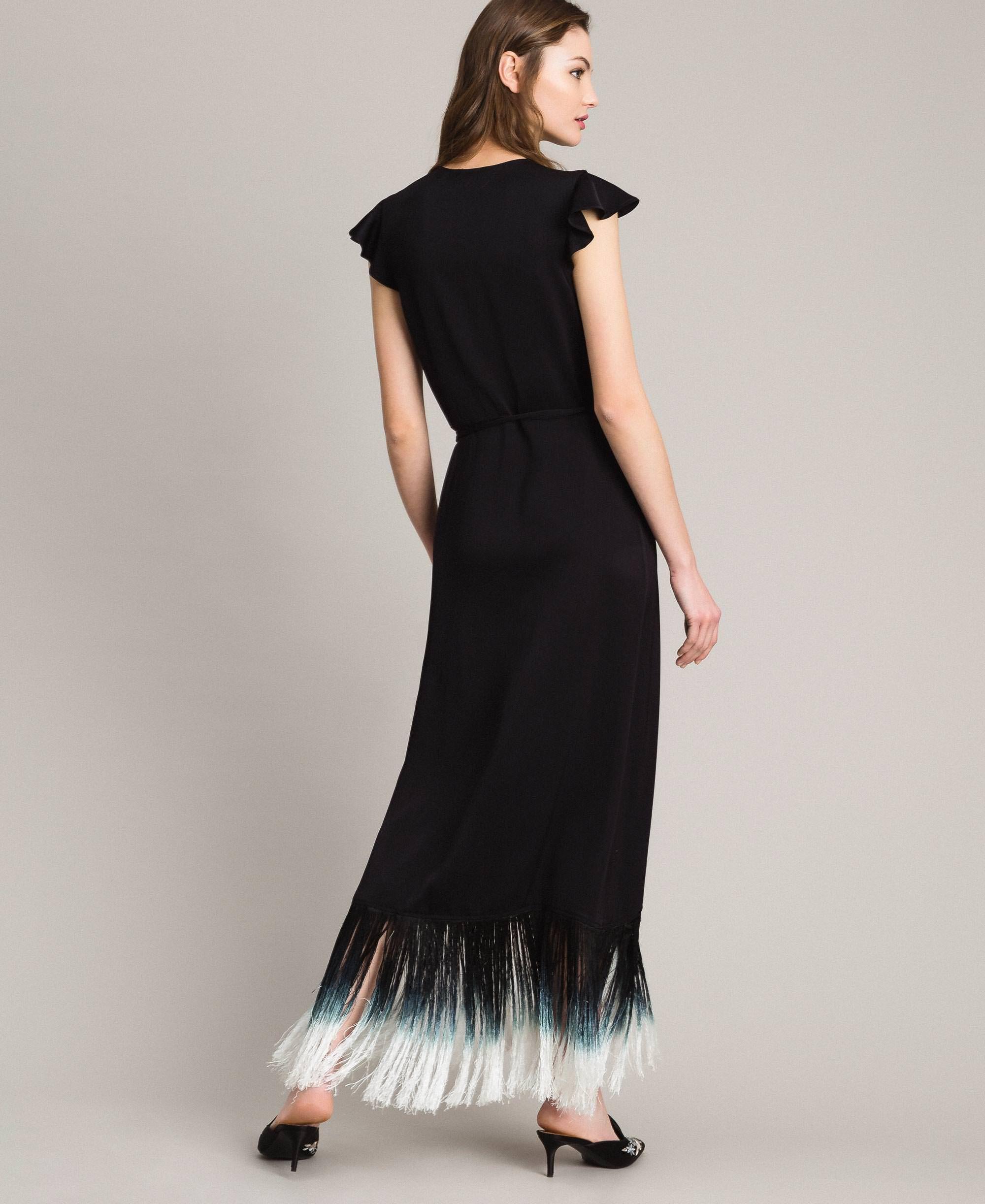 77bd1f563 Vestido largo con bordado floral y flecos Mujer, Negro | TWINSET Milano
