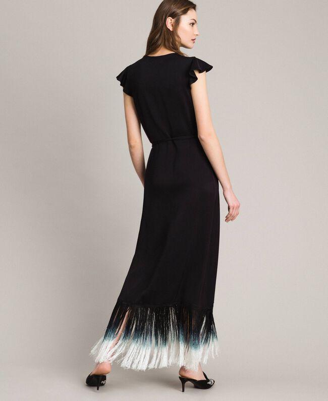 12a081c979d Robe longue avec broderie florale et franges Noir Femme 191TT2135-03