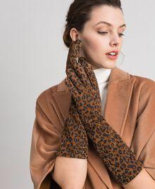 Lange Handschuhe aus Leder mit Animal-Print Animalier-Print Frau 192MA4302-0S