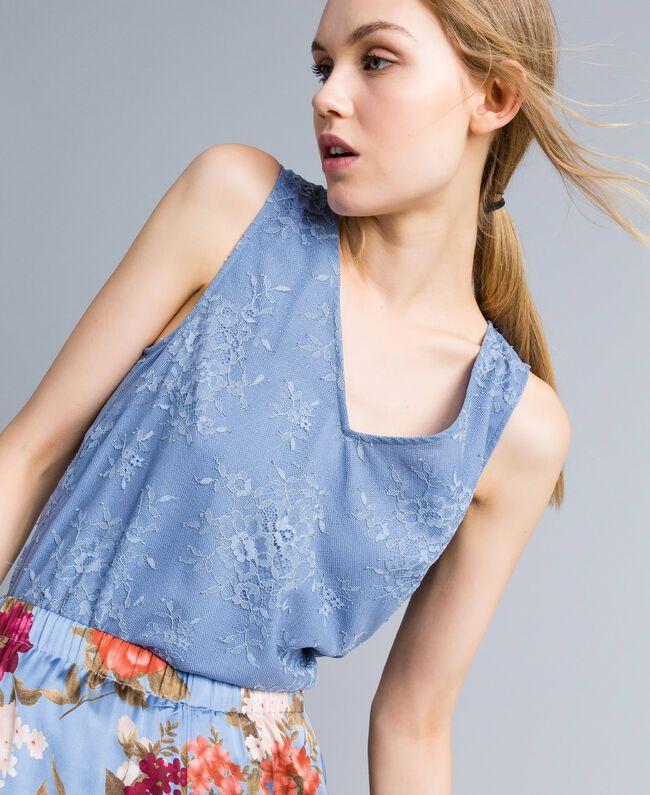 Top en dentelle avec feston Bleu ciel Femme SA82HN-01