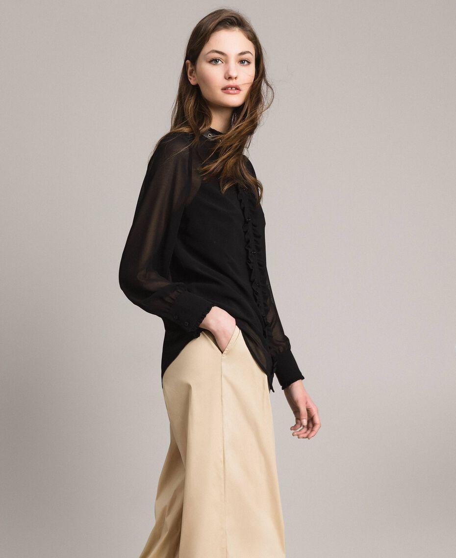 Рубашка из жоржета с рюшами Черный женщина 191MP2393-02