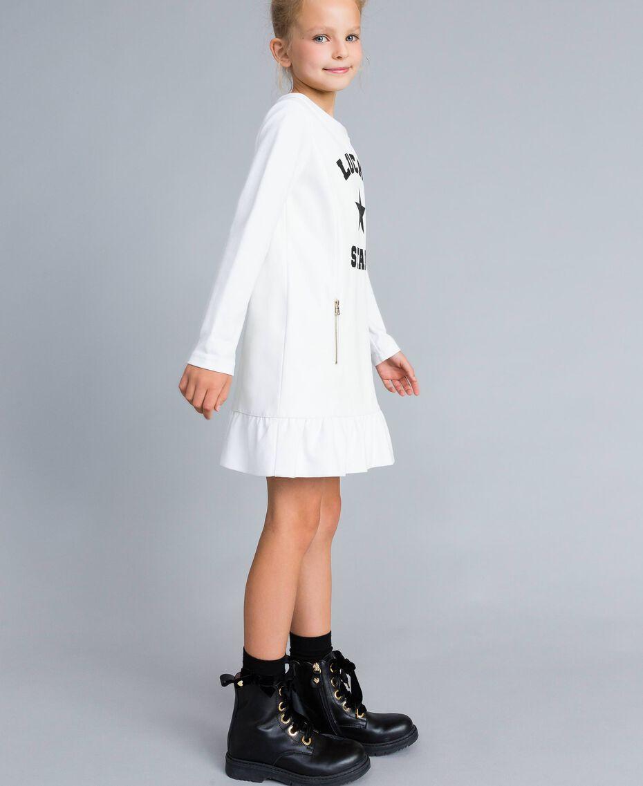 Kleid aus Lederimitat und Interlock-Jersey Mattweiß Kind GA82LU-02