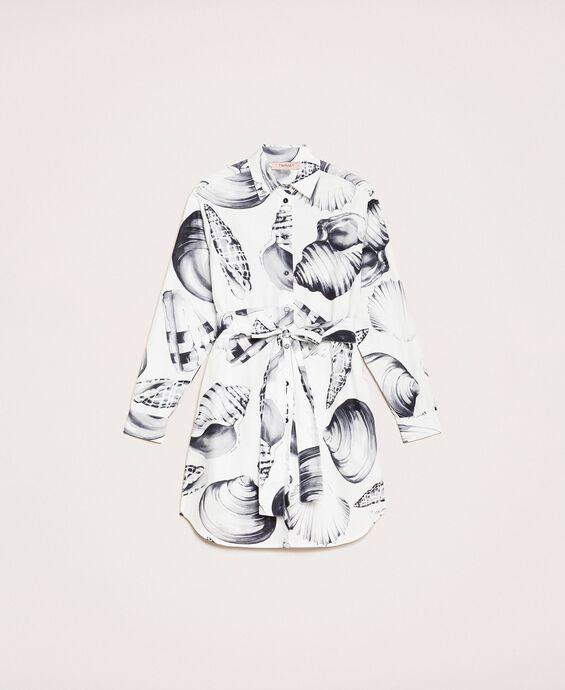 Camicia lunga in popeline stampato