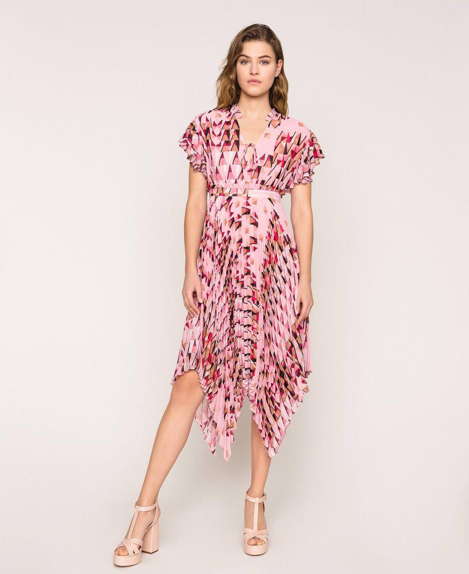 Robe en crêpe georgette imprimé, avec plis et volants Imprimé Géométrique Rose «Bonbon» Femme 201ST2185-01
