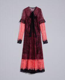 """Valencienne lace multi-colour long dress Burgundy Multicolour / """"Royal Pink"""" Woman PA82FS-0S"""