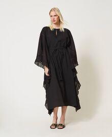Marrakech muslin long dress with embroidery Black Woman 211TT2704-01