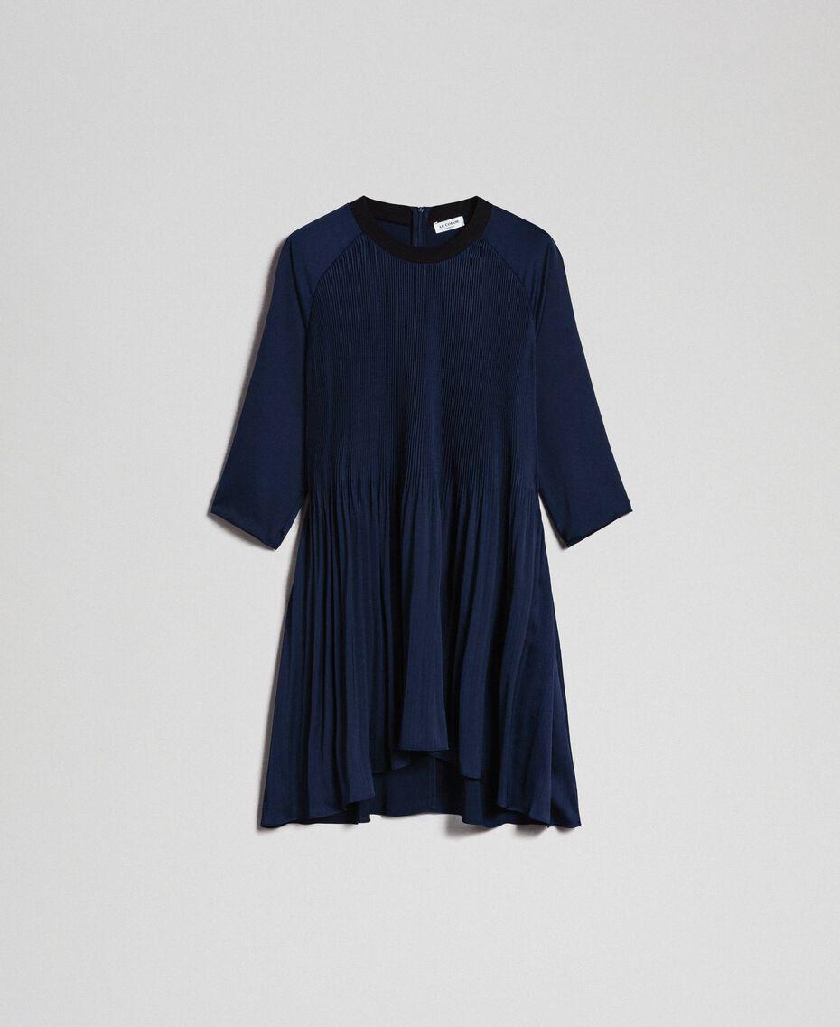 Plisseekleid mit Dreiviertelärmeln Nachtblau Frau 192ST2091-0S