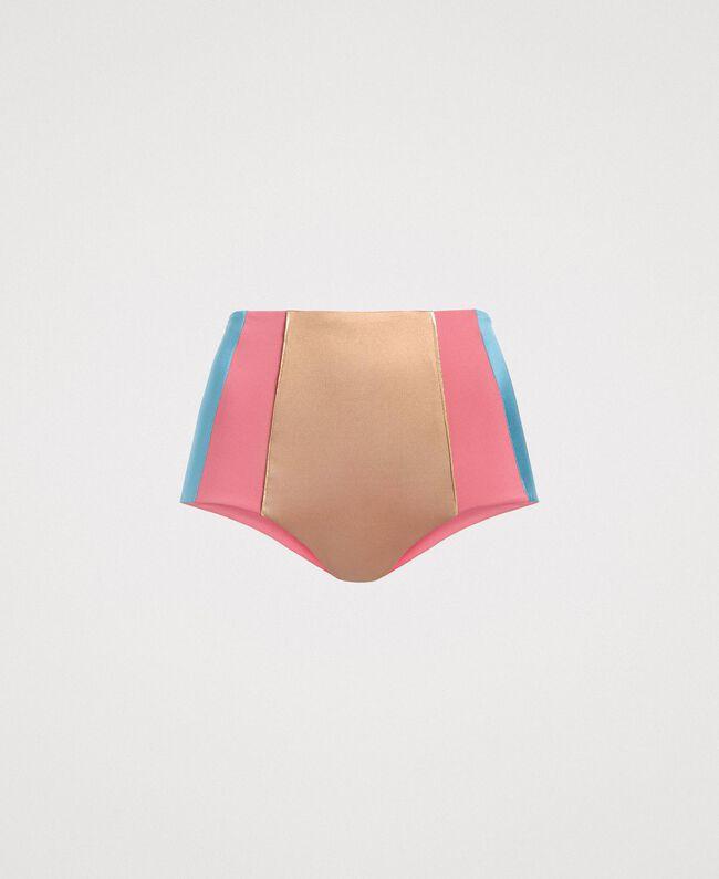 """Bas de bikini taille haute color block Multicolore Bleu Lumière du Jour / Rose """"Rose Tendre"""" / Marron """"Grès de Pétra"""" Femme 191LMMH99-01"""